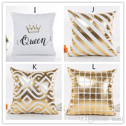 New Bronzing Capa de Almofada de Ouro Impresso Travesseiro Capa de Almofada Decorativa Sofá Assento Do Carro Fronha Macia
