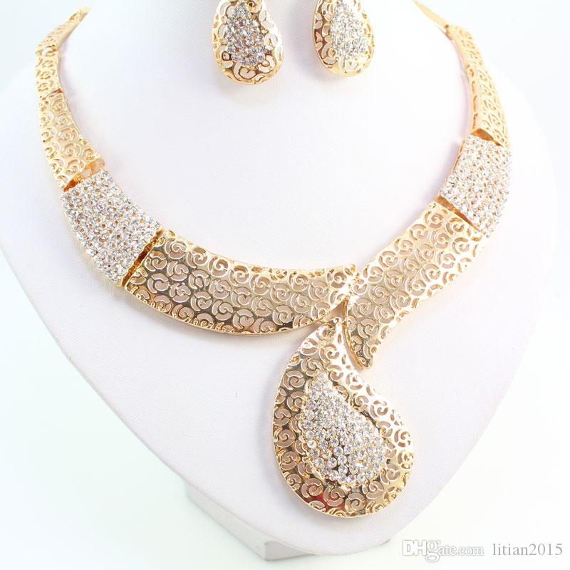 Fine African Beads Jewelry Set For Women Party Accessories Vintage Jewely Set Fashion Indian 18K Gold Plated Nigerian Wedding