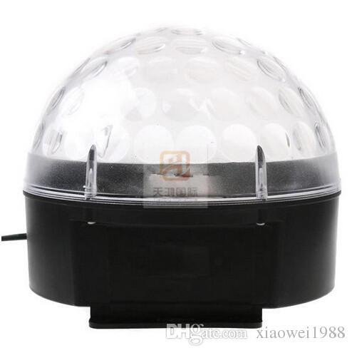 2015 envío gratis nueva llegada activada por voz RGB LED Crystal Magic Ball láser fiesta DJ Etapa Iluminación bombilla Efecto mini lámpara de luz etapa