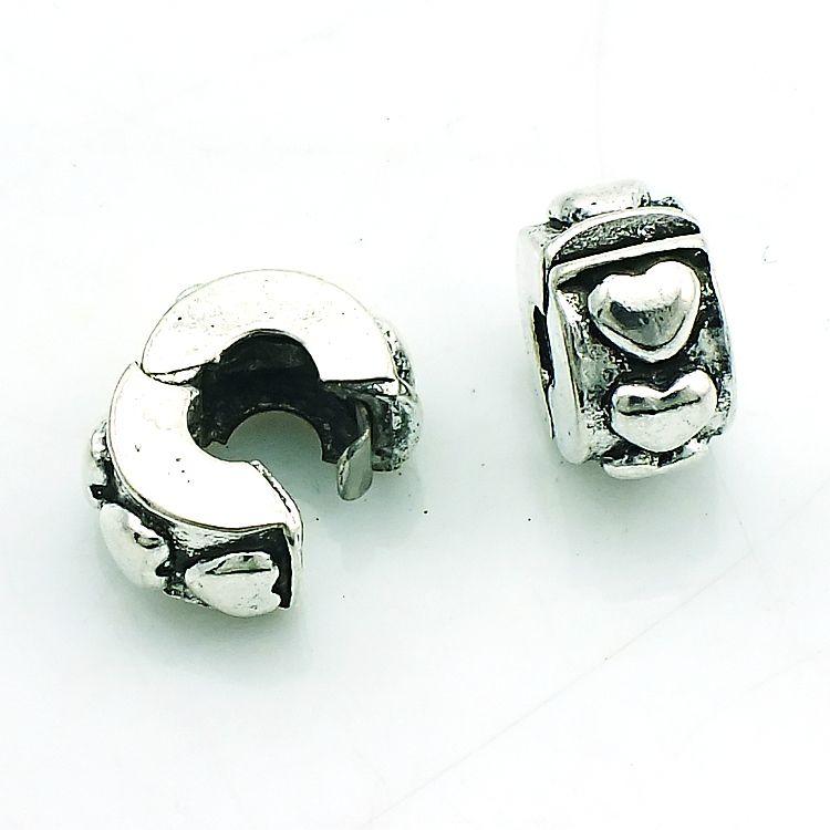 Perlas de metal de moda de plata antigua chapado en plata del corazón de los granos sueltos diy marcas europeas pulseras accesorios de la joyería