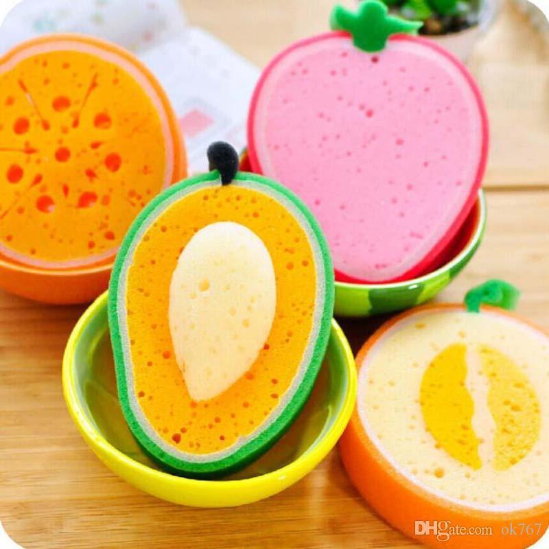 Forma lindo de la fruta de microfibra Esponja Estropajo paño de limpieza fuerte quita las herramientas manchas espesado esponja de cocina