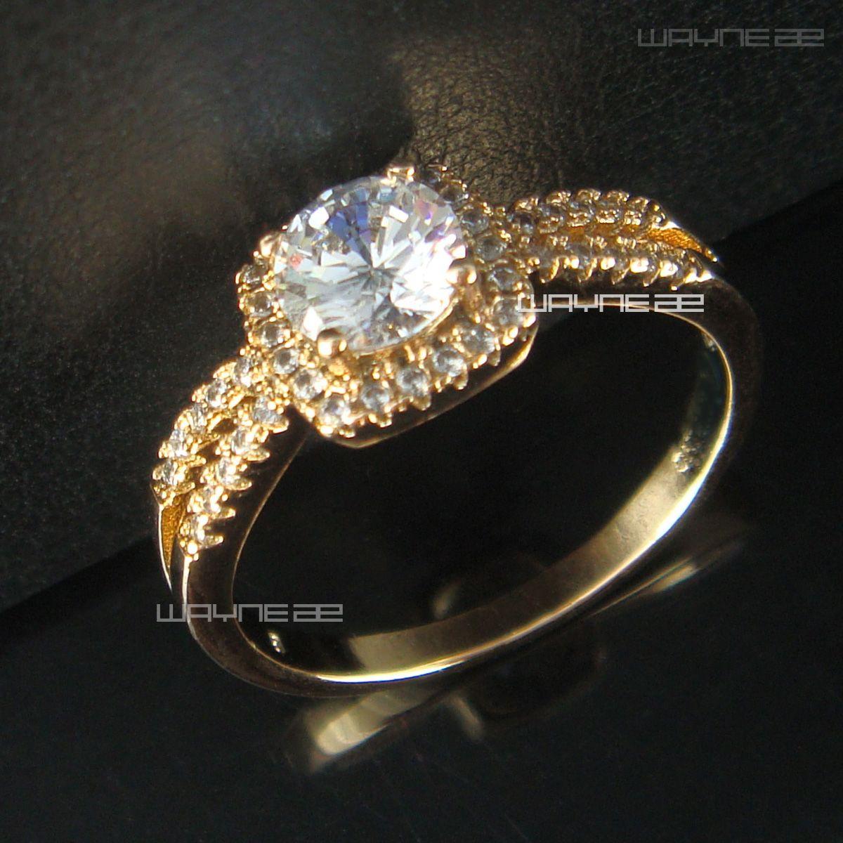 Ladies Elegant 18k Gold Filled cz Crystal Engagement Wedding Ring R185 Size6-8
