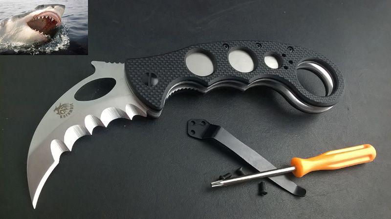 New CNC Serrated Claw Karambit AUS-8 Blade G10 Handle Folding Pocket Knife C01
