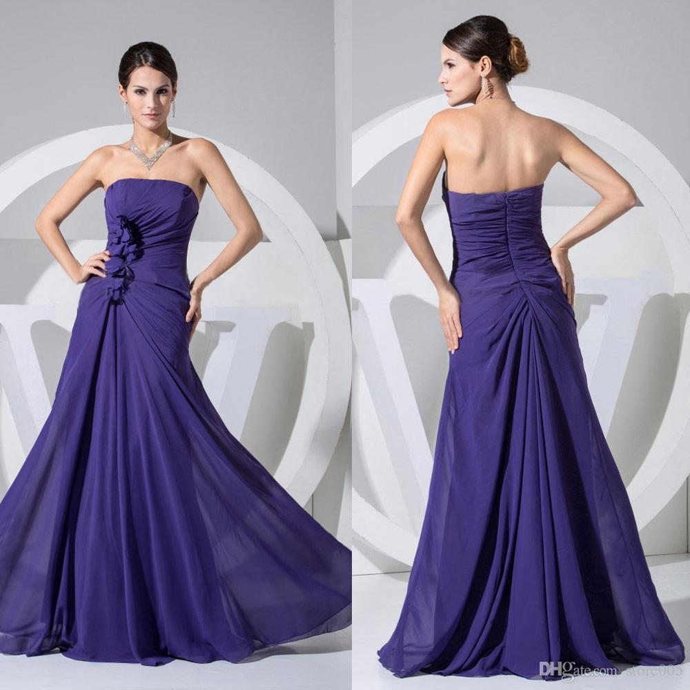 Purple Strapless Chiffon Flowers Long Bridemaid Bridesmaid