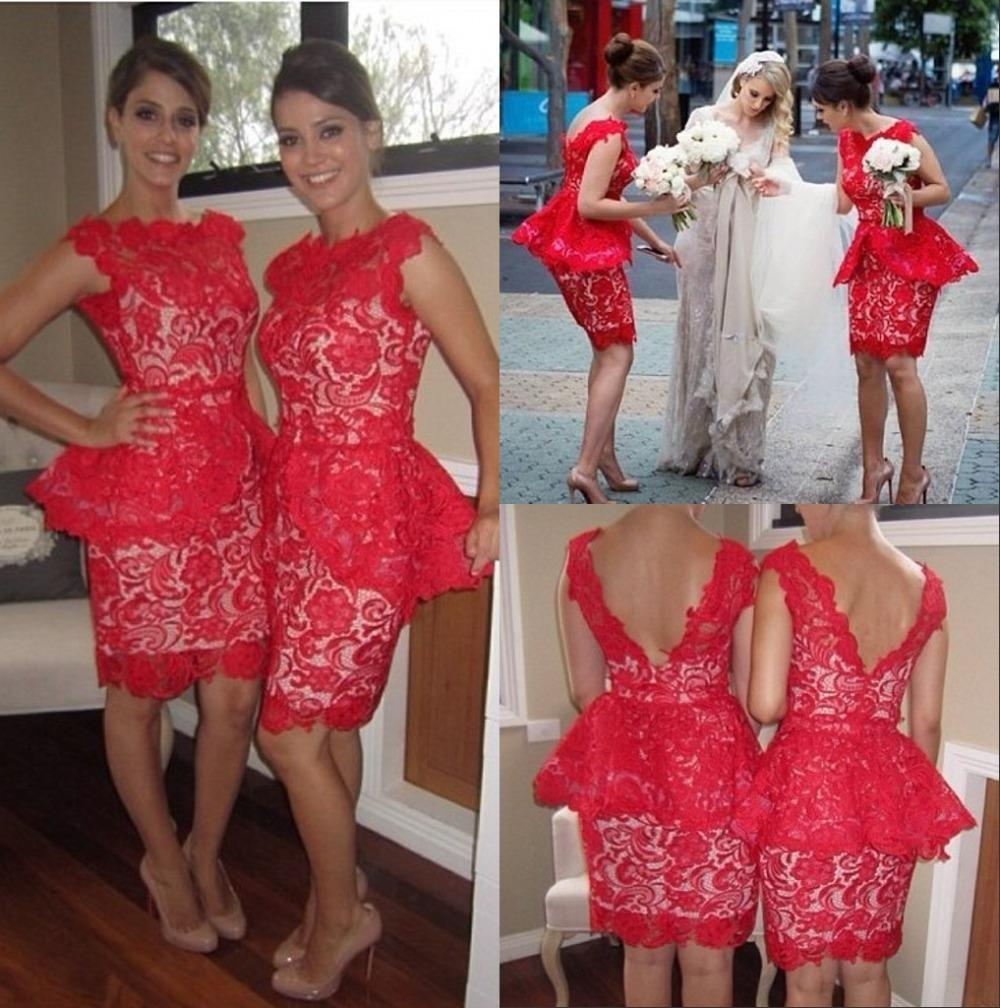 2017 short beach bridesmaid dresses peplum red lace knee length see larger image ombrellifo Images