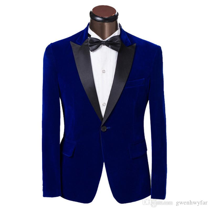 Velvet Men Suit Jacket Dark Blue Peak Lapel Men Suit Wedding Prom Mens Suits Slim Groom Tuxedos Fashion Wedding Suits For Men Jacket+Pants