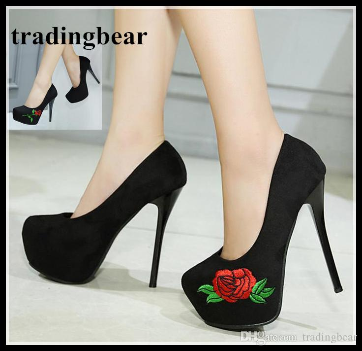 190e83dbabd3 Luxury Rose Flower Embroidery Synthetic Suede Pumps Women Nightclub Shoes  Sexy Platform High Heels Size 34 To 39 Men Sandals Best Shoes From  Tradingbear