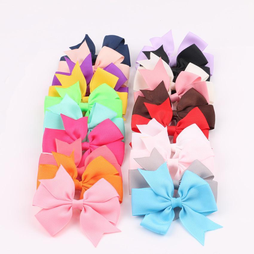 Оптовая ручной работы заколки V-образный детские ласточкин хвост ленты лук аксессуары для волос атласная 20 цветов шпилька дети головной убор