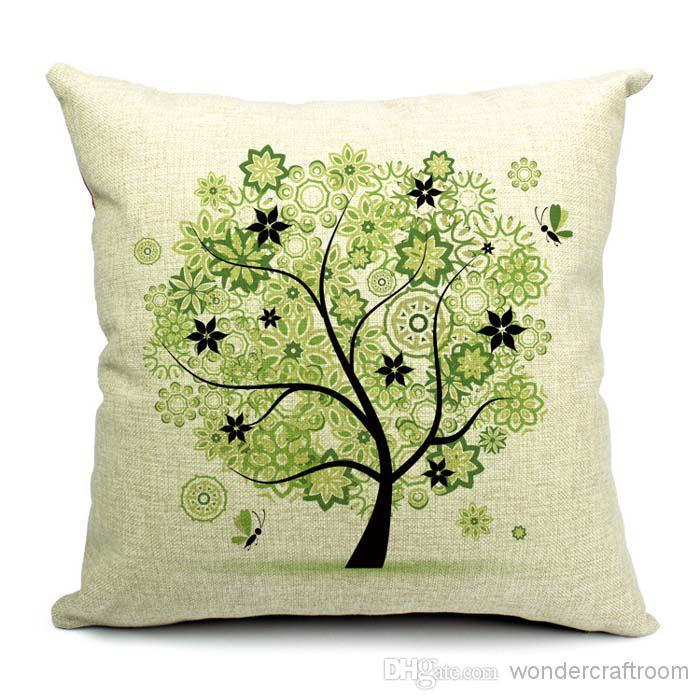 Cushion covers season of a tree leaf and floral pillow case linen cotton 45x45cm pillows cover for sofa couch chair car seat decoration