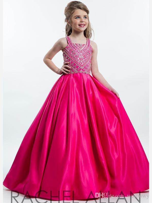 2019 novos anjos perfeitos por Rachel Allan quadrado decote Pa vestido de baile Custom Made princesa bola até o chão crianças festa crianças presente 1148