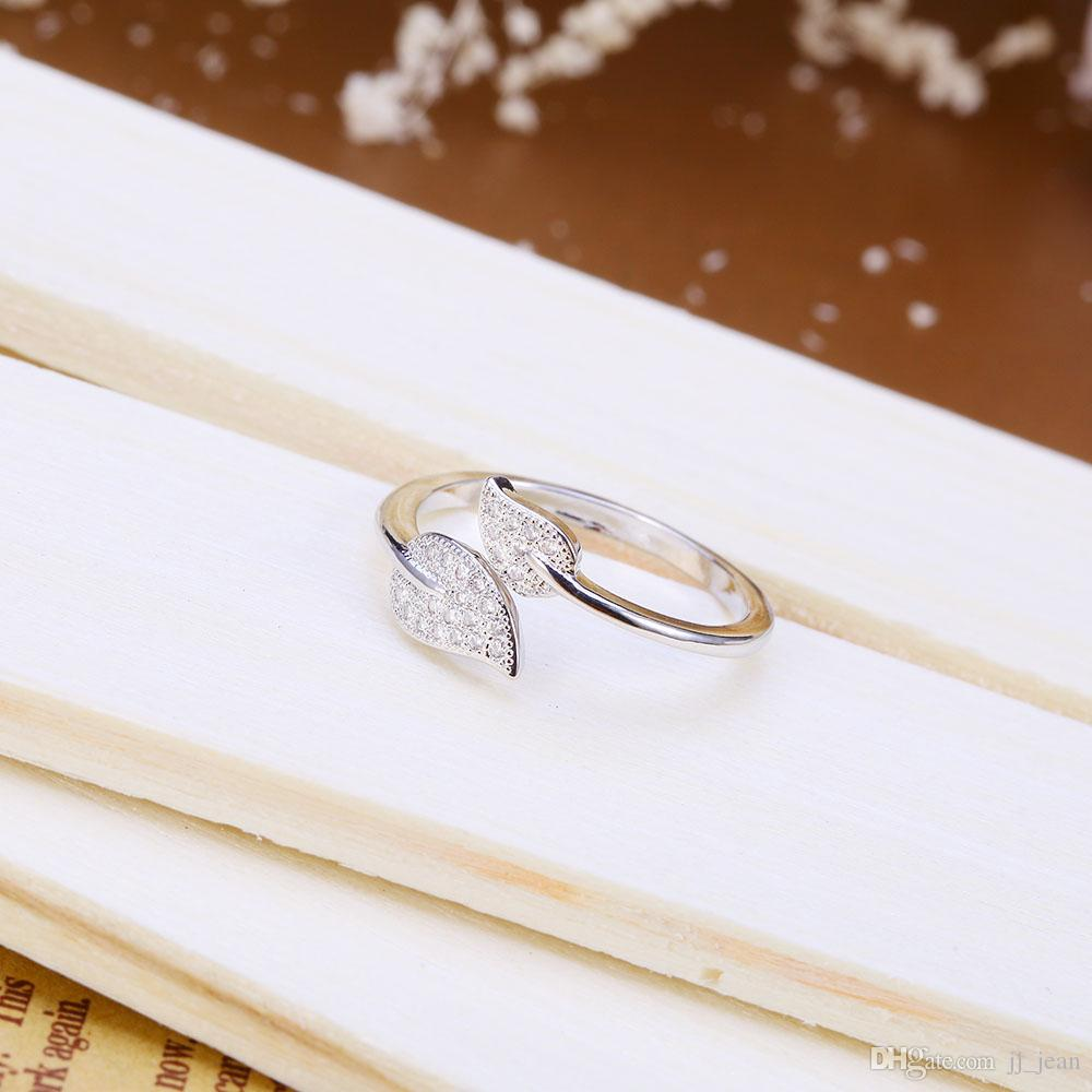Leaf Fashion Rings Imitation Rhodium 24K Yellow Gold Plated Fine Jewelry Size Adjustable CZ Wholesale Hot Sales For Women