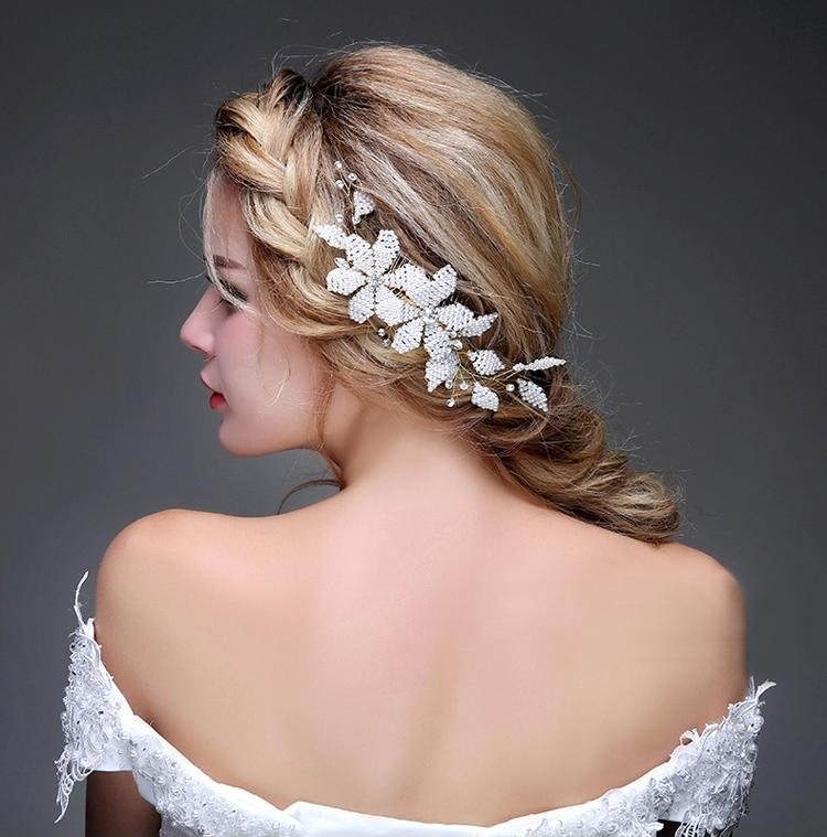 white small beads hair combs wedding tiaras bridal hair accessories bridesmaid jewelry wholesale cheap fashion jewelry handmade bridal jewel dance hair