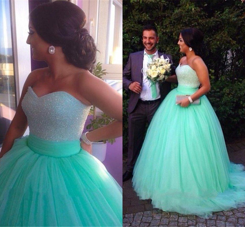 2015 Mint Green Wedding Dresses Ball Gown Soft Tulle Sweetheart Beaded Custom Made Plus Size Bridal Gowns Cheap Party Black: Mint Green Wedding Dress At Reisefeber.org