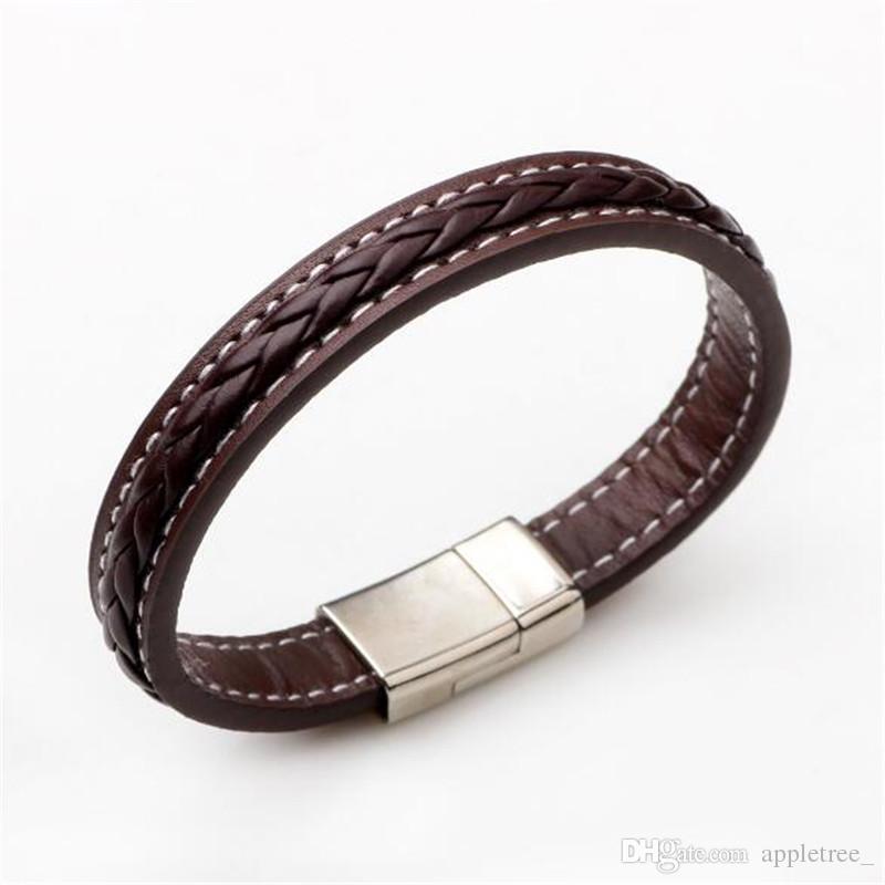 534890d69508 Pulseras de cuero trenzadas Punk hombres pulsera de cuero para hombre negro  marrón brazaletes pulsera moda joyería masculina brazalete al por mayor DHL
