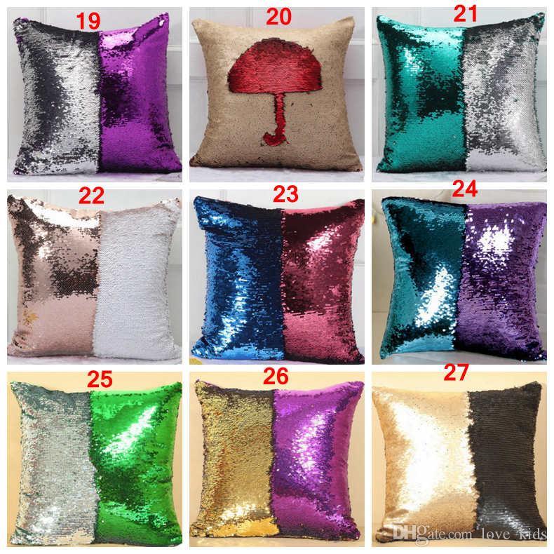 DHL 36 cores Duplo Lantejoula Fronha capa Glamour Quadrado Travesseiro Capa de Almofada Home Sofá Car Decor Sereia Natal Capas de Almofada