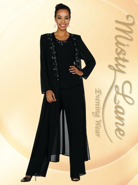 Fashion Three Pieces Spring A Line Elegant Chiffon Long Sleeves Ruffles Mother Of the Bride Pants Suits Jewel Neck Long Pants Plus Jacket
