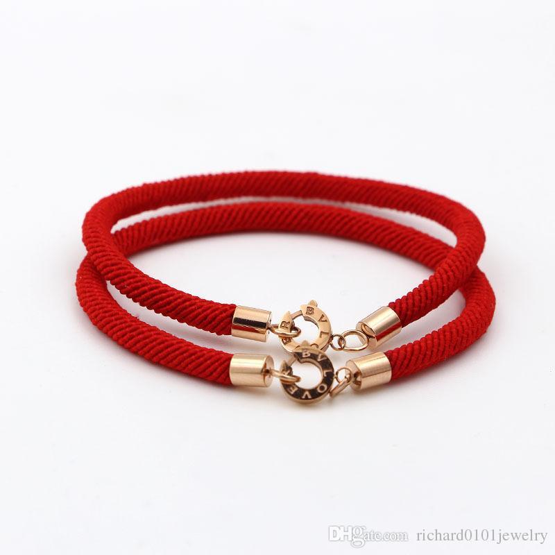 Alta qualità 316L acciaio inossidabile di titanio BV LOVE rotonda Chiusura Bracciale corda rossa donne e uomini Gioielli di moda braccialetto di fascino di marca