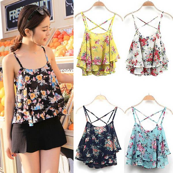 b2af73229d5b33 Summer Women Colorful Strap Cami Floral Flowery Cute Chiffon Ruffled Frill  Layered Backless Club Party Crop Top Casual Blouse Blouse Silk Top 10  Sewing ...