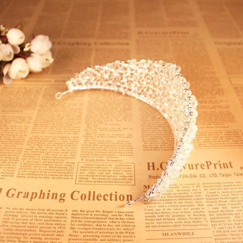 Coroa Deslumbrante para a Moda de Noiva Acessórios Do Casamento Beads Headpieces para Meninas Partido Imagem Real Em Estoque Nupcial Tiara CPA495