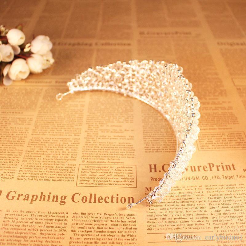Deslumbrante corona para la novia Accesorios de boda para la moda Beads Tocados para fiesta de niñas Imagen real En stock Tiara nupcial CPA495