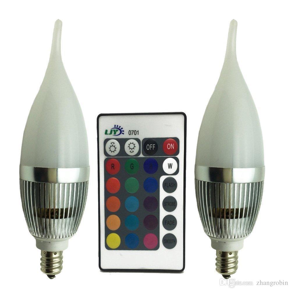 Best Ljy 2 Pack E12 Candelabra 3w Rgb Led Light Remote Control ...