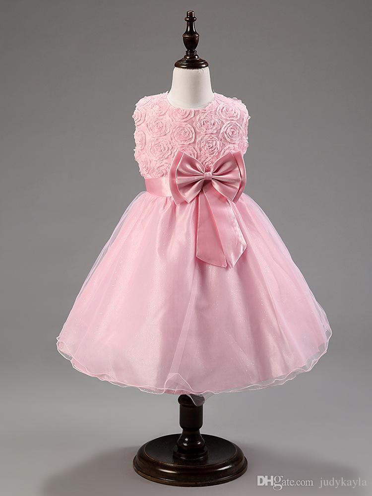 Büyük kızlar balo tatlı tarzı stereoskopik gül aplike çocuk parti elbiseler büyük ilmek gençlik prenses elbise altı renk ab2093 XQZ