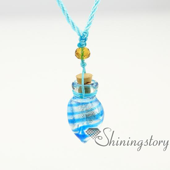 foil cone diffuser necklaces wholesale jewelry scents aromatherapy necklace diffuser glass vial necklace Perfume bottle essential oil neckla