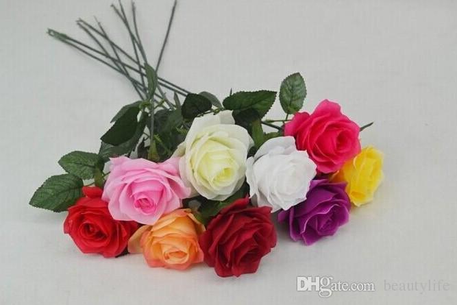2015 Yeni Stiller Yapay Gül İpek Zanaat Çiçekler Gerçek Dokunmatik Çiçekler Düğün Noel Odası Dekorasyon Için 7 Renk Ucuz Satış