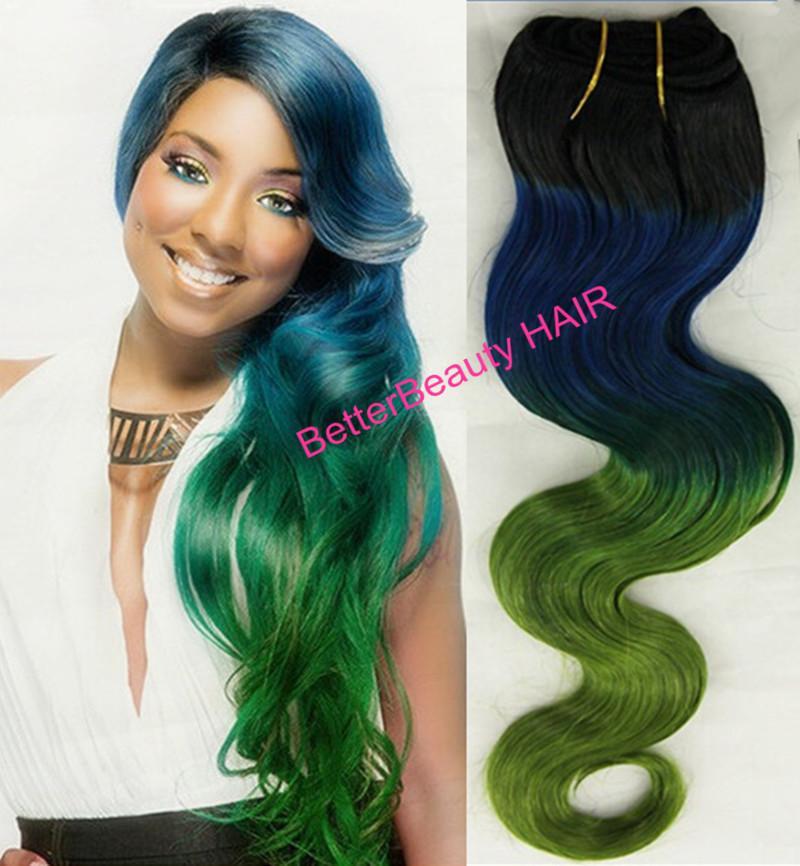3tone Black Blue And Green Human Hair Weaving Hair Weft Hair