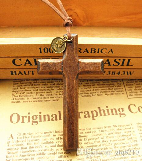 New stereo wooden cross pendant necklace vintage leather cord sweater chain Alloy round disc men women jewelry handmade Fashion