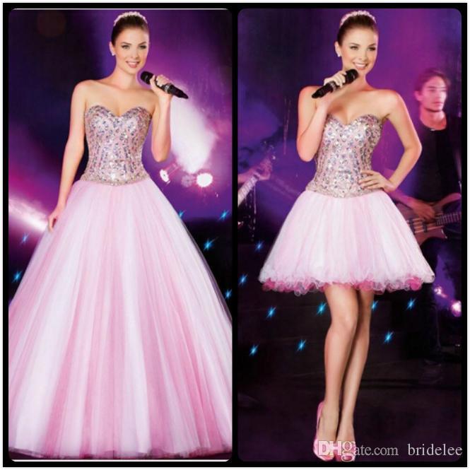 Chic Detachable Skirt Pink Prom Dresses Ball Gown Elegant Sleeveless ...