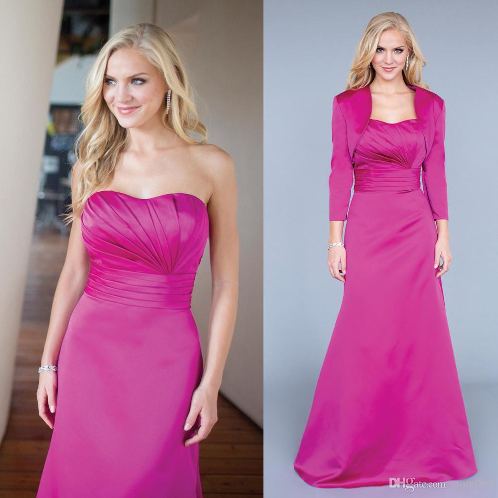 Fuschia long satin bridesmaid dresses gowns with jacket ladies see larger image ombrellifo Choice Image