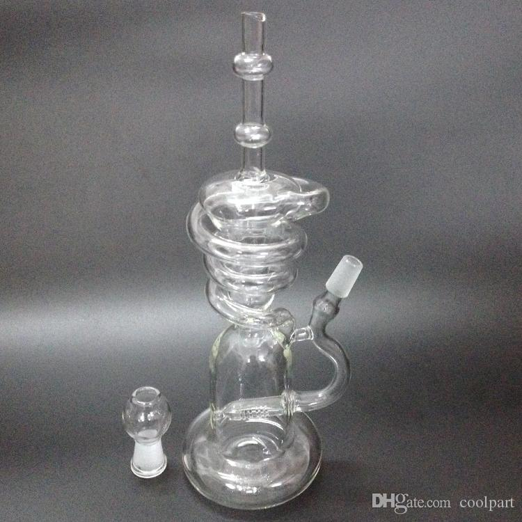 bongs water pipes Recycler hookahs spiral tall recycler rig with inline perc rig glass new glass bongs for smoking glass pipes
