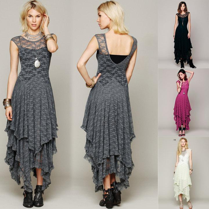 Qualidade superior Mulheres Boho Pessoas Estilo Hippie Assimétrico Bordado Sheer Lace Vestido Duplo Em Camadas Ruffled Aparamento Vestido Longo Sem Forro