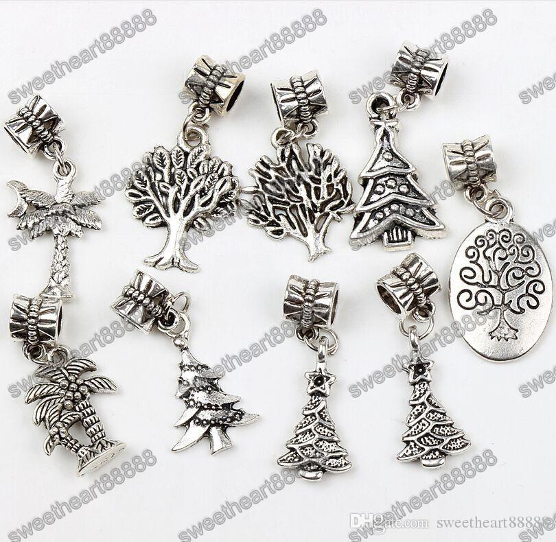 Árvore da vida Dangle Big Hole Beads 135 pçs / lote Prata Tibetana 9 Estilos Fit Charme Europeu Pulseira Jóias DIY