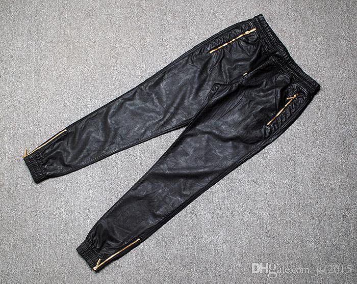 Gros-Top Qualité Hommes En Cuir Pantalon Or Zipper HipHop Pantalon Trackpants Parfait Fit Slim Moto En Cuir Jogger Pantalon EUR Taille