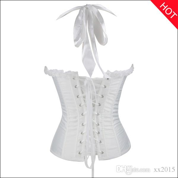 Sexy Gothic Halter Lace Up Side Zipper Bustier Bow Embroidery Corset Lingerie For Women Waist Trainer Body Shaper