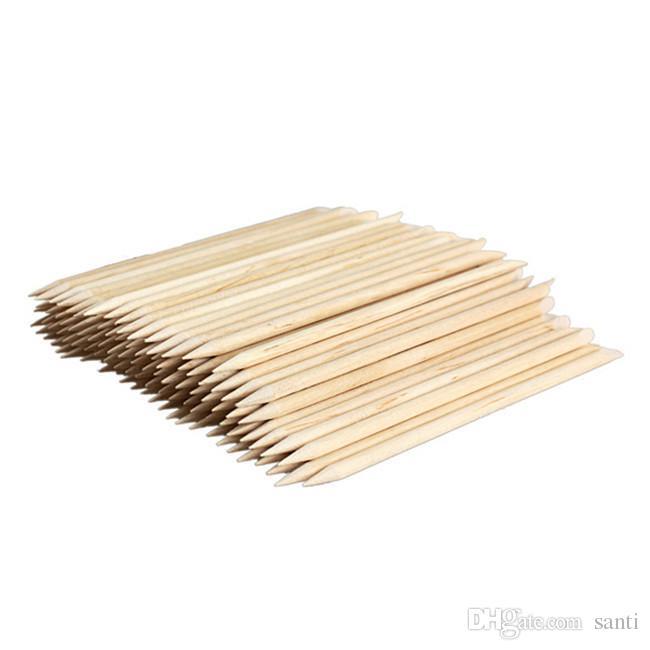105mm / pack Remover de poussoir de cuticule de bâton en bois orange d'art de clou pour des outils de beauté de manucure