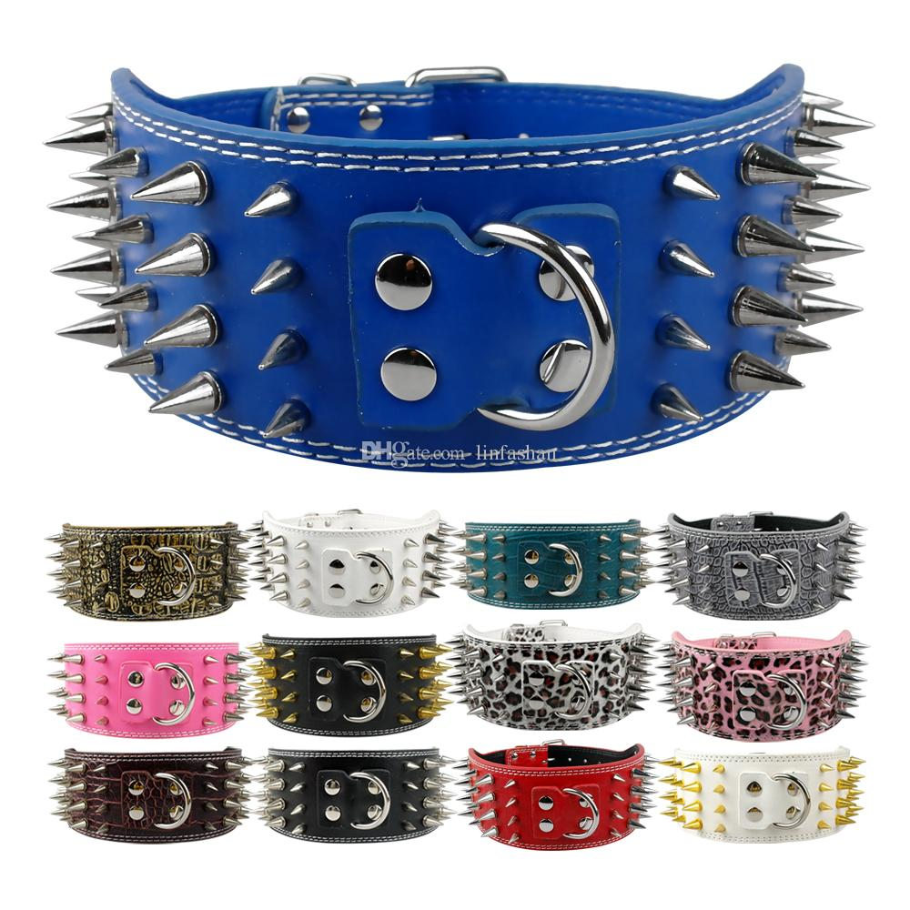 7 colours New arrive Pitbull Spiked Leather Dog Collars 4 Rows Spikes for Boxer Stiff Collars