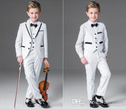 White Wedding Groom Tuxedos Flower Boys Children Formal Prom Party Suits jacket + vest + pants custom made