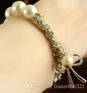Hot Selling Nieuwe Fashions Mooie Pearl Bow Nieuwe Armband Pearl Armband Bow Armband Gratis verzending met trackingnummer