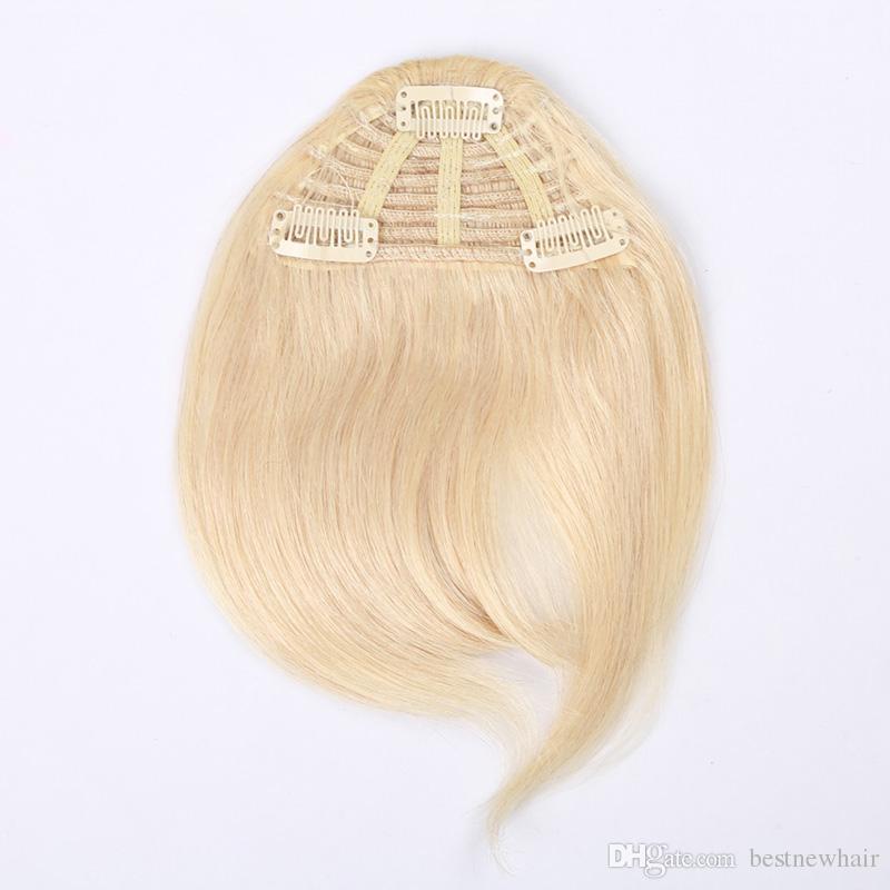 3 klipy Sztuk 7 cali Czarny Brązowy Bonda Color Kombinacja Kolor Ludzki Włosy Przedłużanie Fringe Włosy w Łatwy Zastosuj ludzkie włosy