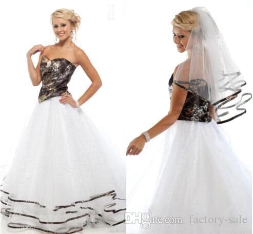 Discount 2016 New Arrival Spring Camo Wedding Dresses A Line ...