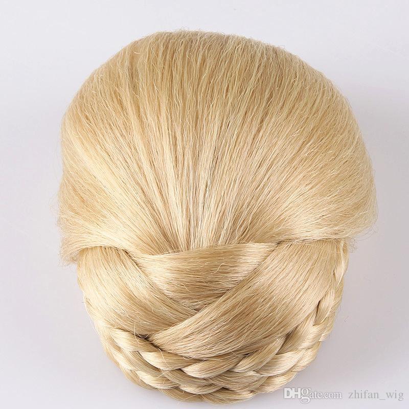 Z&F 12CM Long High Temperature Fiber Synthetic Hair Pieces Accessories Braided Chignon Hair Bun