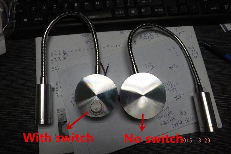 LED Duvar Lambaları 3 W Hortum Duvar Lambası Başucu Lambası Okuma Duvar lambaları Anahtarı Ile 3 W Sıhhi Tesisat Tuzağı Arka Plan Ayna Işık LED Duvar Işık Lambası