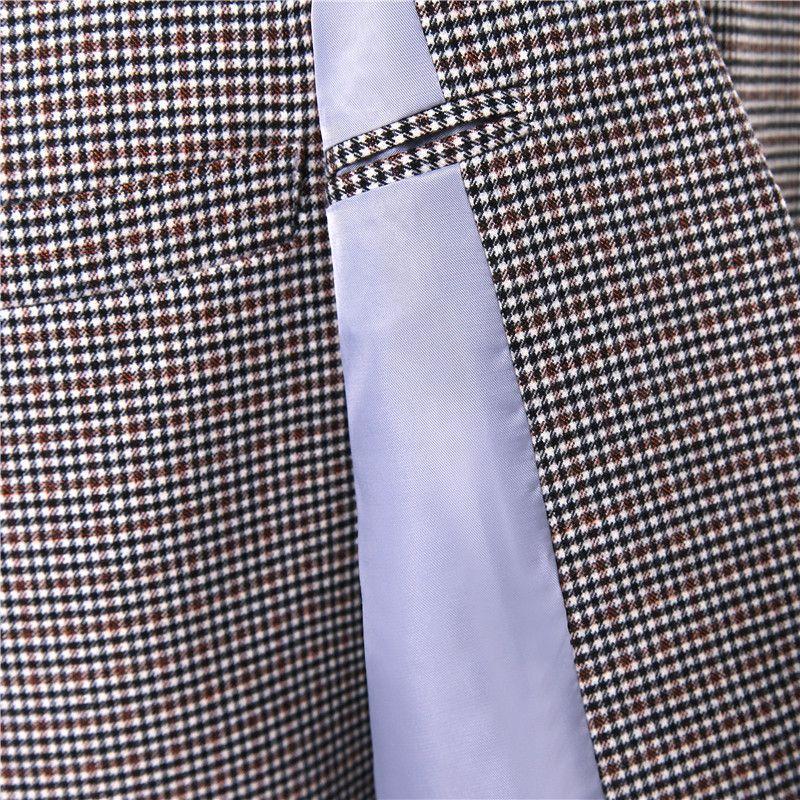 .New Men Suit Jacket Plaid Wool Fabrics Herringbone Fashion Wedding Tuxedo Coat Designer Slim Fit Blazer Jackets Size XS-4XL