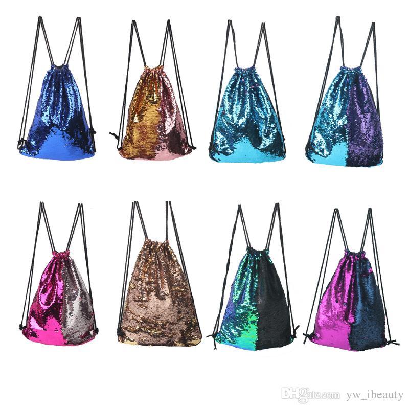 Mermaid Sequin Backpack Sequins Drawstring Bags Reversible Paillette ... b3e9748ab1d5