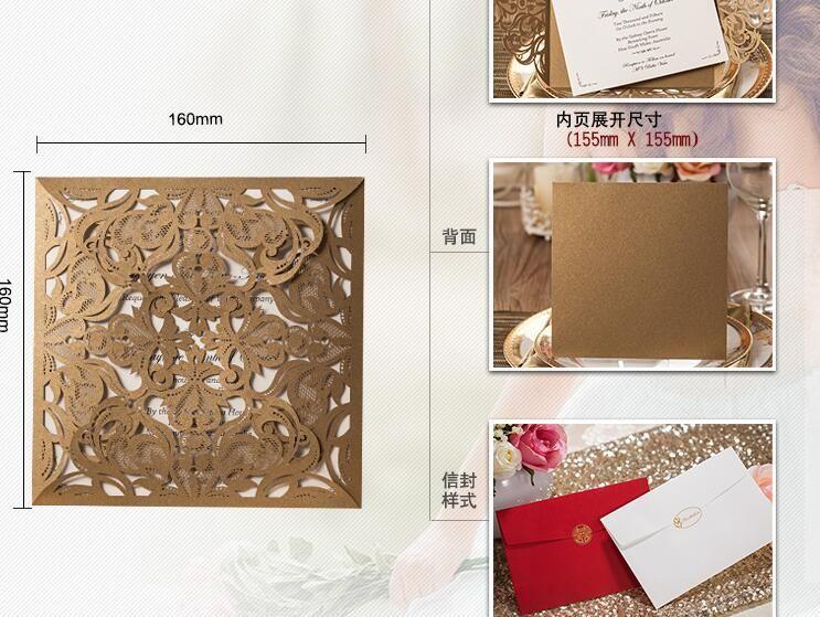 Inviti di nozze con taglio laser Carta inviti stampa libera di carta dorata fiori di compleanno Biglietti di auguri Articoli feste Elegante