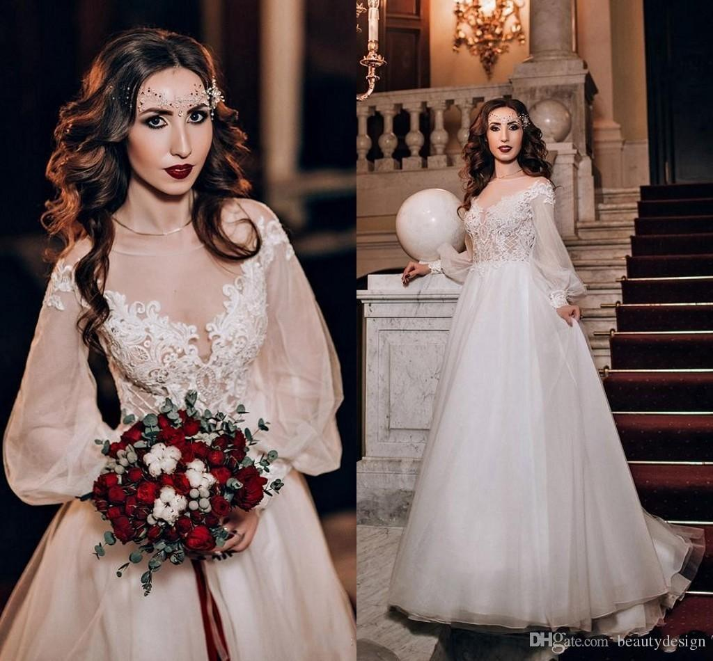 Illusion Wedding Dresses 2018 New Appliques Lace Top Pretty Bridal Soft Chiffon Tulle A Line Royal Gowns With Long Sleeves Vintage: New Old Wedding Dresses At Reisefeber.org