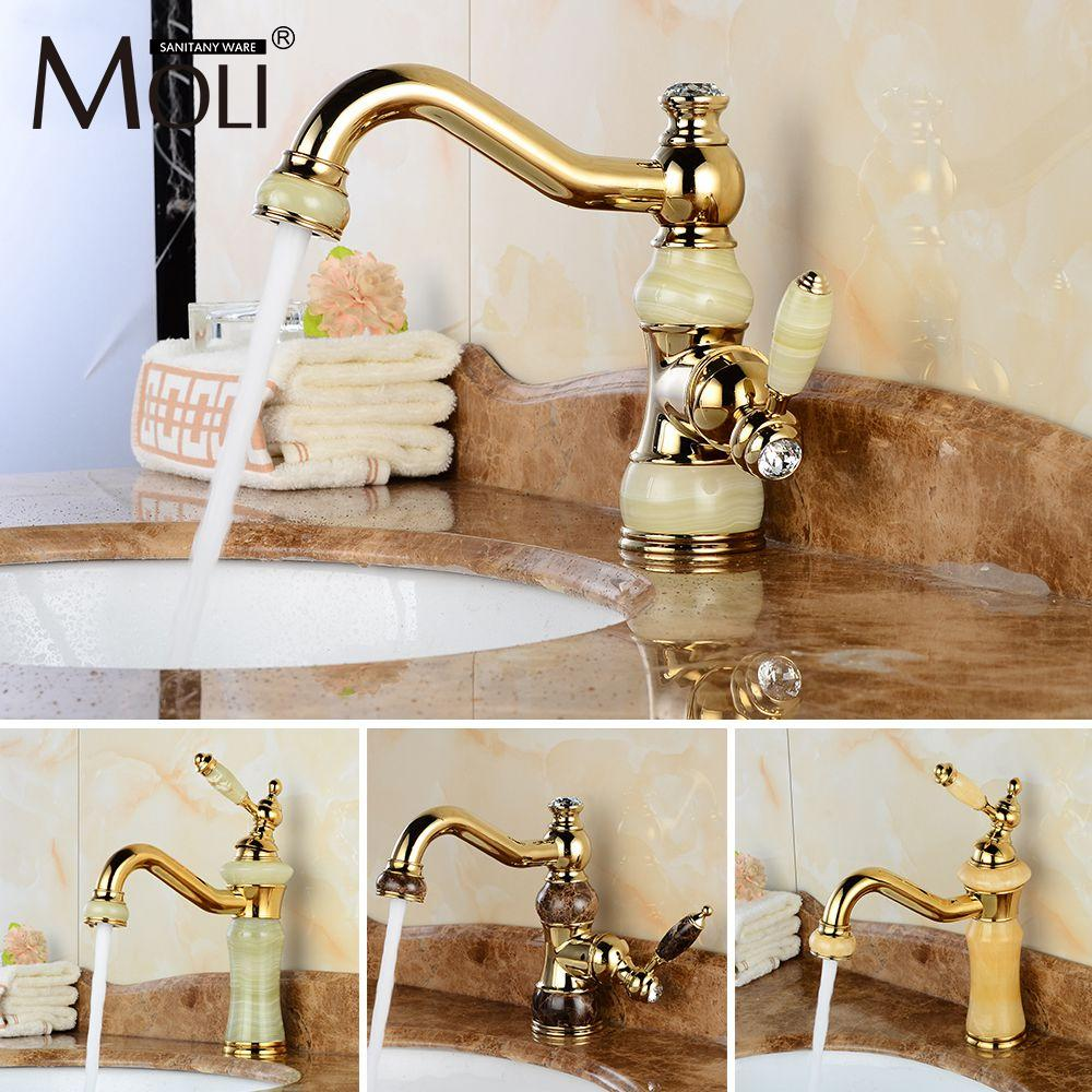Best Luxury Golden Faucet Copper Bathroom Faucets With Stone Single ...